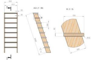 Лестница в погреб металлическая и деревянная