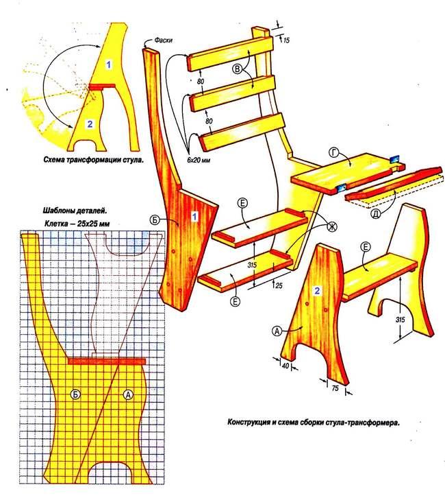 схема изготовления стула-стремянки