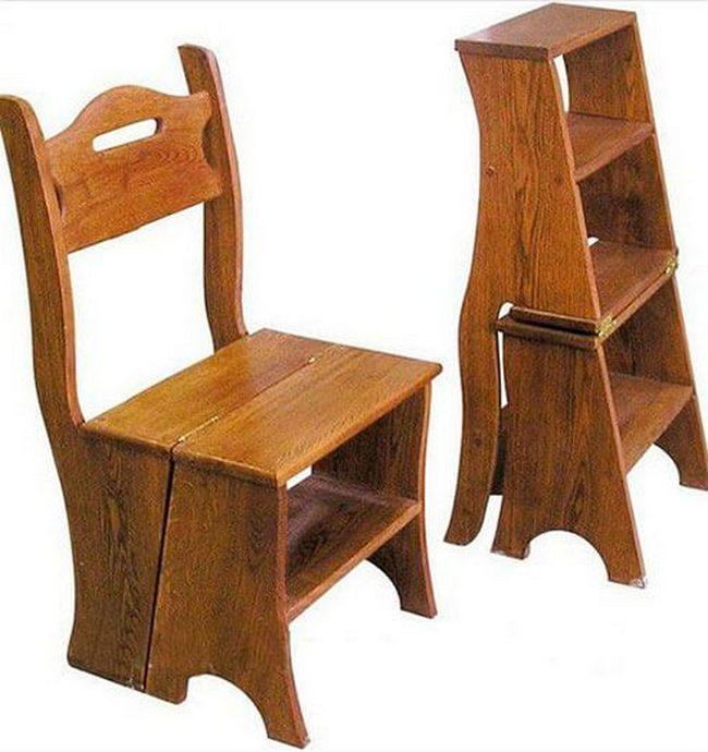 стул-стремянка из темного дерева